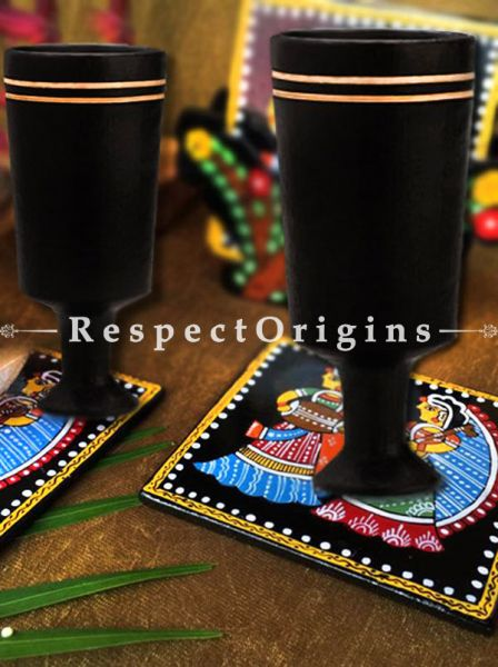 Buy Wine Clay Goblets; Longpi Manipuri Black Pottery; Conical; Set of 4. 2.8x6.4 in; Chemical Free At RespectOrigins.com