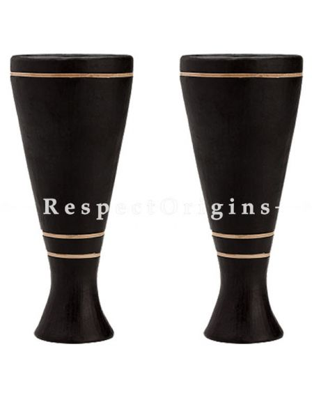 Buy Wine Clay Goblets Triple Rattan Cane Ring Conical; Longpi Manipuri Black Pottery; Set of 4. 2.8x7 in; Chemical Free At RespectOrigins.com