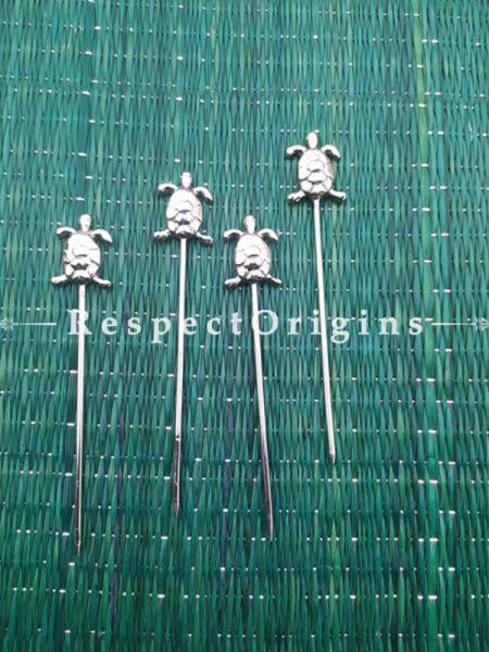 Buy Pack of 4 Stainless Steel turtle design Skewers, Cocktail Sticks Party Frilled Toothpicks, Sandwich, Appetizer, Cocktail Picks At RespectOrigins.com