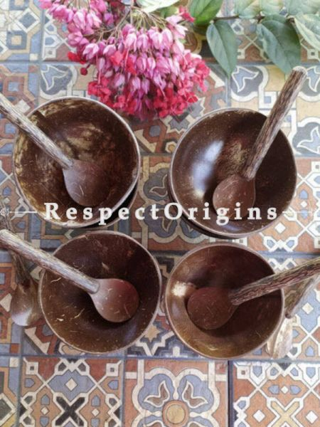 Set of 4 Natural Coconut Shells Snack Bowl with Spoons, Handcrafted|RespectOrigins