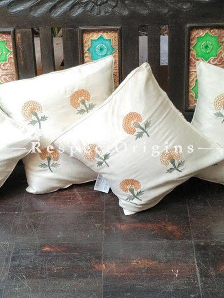 Buy Set of 4 Floral Design White Tussar Silk Square Cushion Cover At RespectOrigins.com