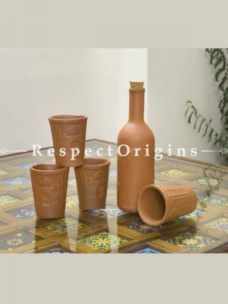 Buy Set of 4 Glasses With A Bottle, Terracotta At RespectOrigins.com