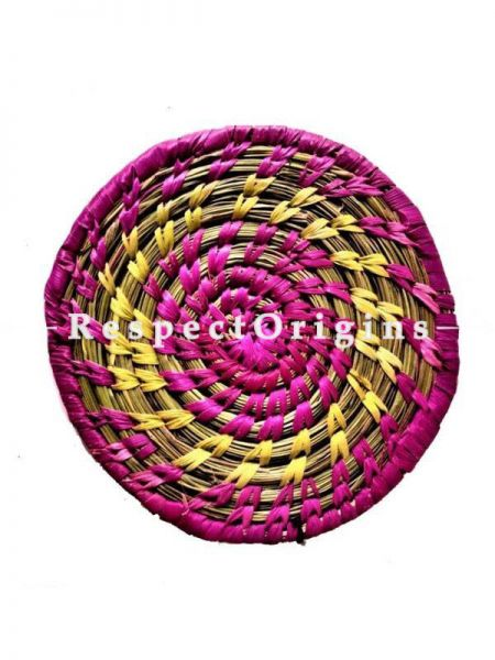 Set of 4 Handcrafted coasters; Dyed purple, yellow fibres; RespectOrigins.com