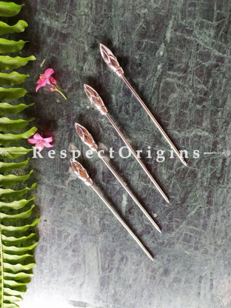 Buy Set of 4 Stainless Steel Skewers, Cocktail Sticks Party Frilled Toothpicks, Sandwich, Appetizer, Cocktail Picks At RespectOrigins.com