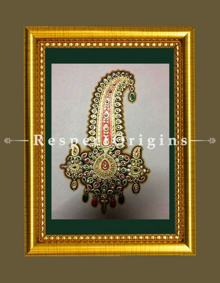 The Sarpech Miniature Marble Gold Paintings Set of 4. 6x8 in; Vertical; Rajasthani Folk Wall Art
