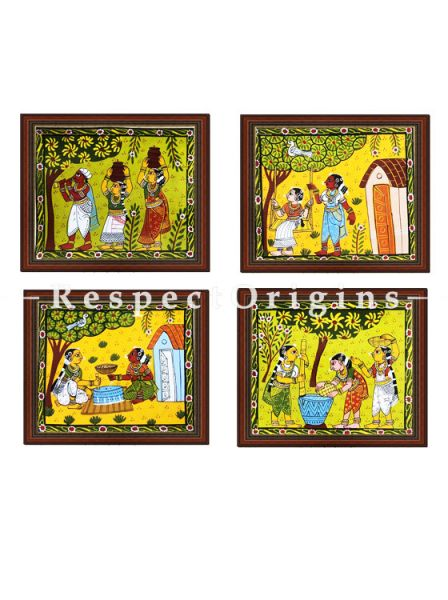 Buy Set of 4 Cheriyal Painting on yellow base Horizontal Wall Art Hand Painted on Canvas Tribal activities 9x11 inches at RespectOrigins.com
