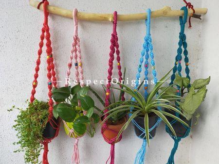 Buy Set of 5 Hanging Pot Holders; Macrame At RespectOrigins.com