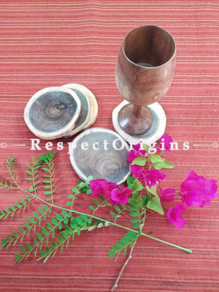 Set of 6 Beautiful Natural Hand Made Round Coasters; Wood, RespectOrigins