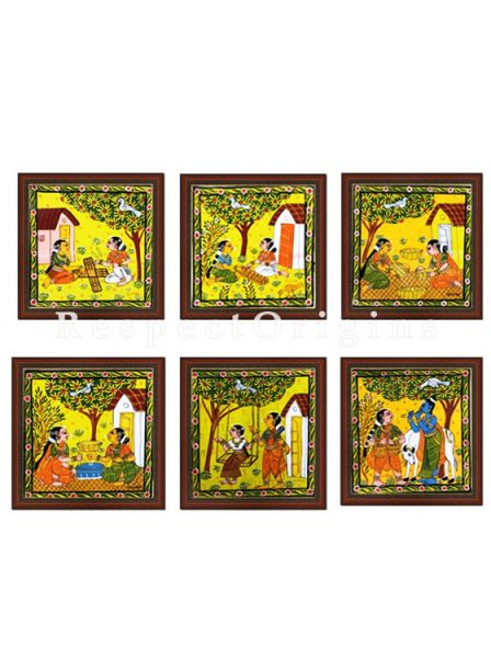 Buy Set of 6 Cheriyal Painting Horizontal Wall Art Hand Painted on Canvas Daily chores 9x11 inches at RespectOrigins.com
