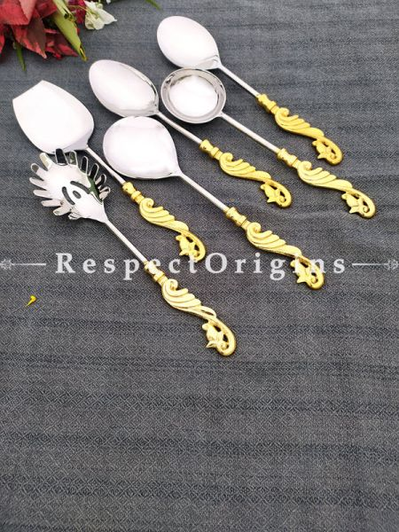Brass with Gold Coating Designer Handcrafted Serving Spoon Set of 6; 11 Inches; RespectOrigins.com