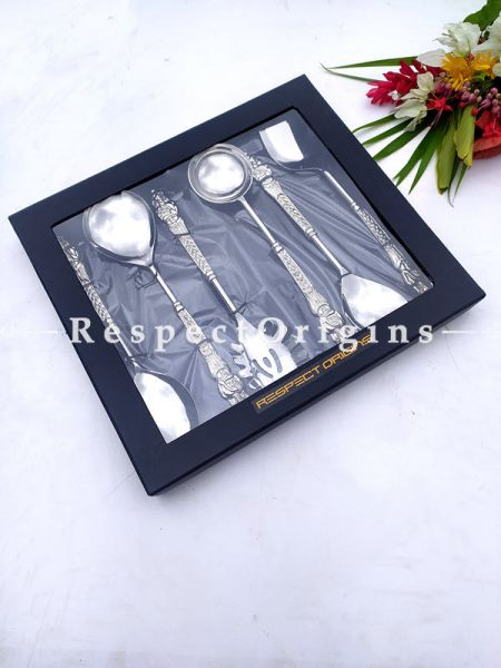Alia Striking Designer Handcrafted Steel Serving Spoon Set of 6 engraved handles; 11 Inches; RespectOrigins.com