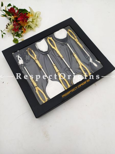 Heavy and Gorgeous Designer Handcrafted Serverware Spoons Set with Brass and Gold Coated Handles for Formal Dining Box Gift; 11 Inches; RespectOrigins.com
