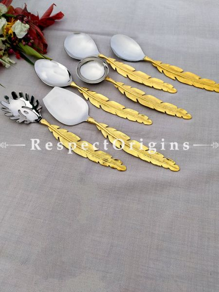 Feathered Brass with Gold Coating Designer Handcrafted Serving Spoon Set of 6; 11 Inches; RespectOrigins.com