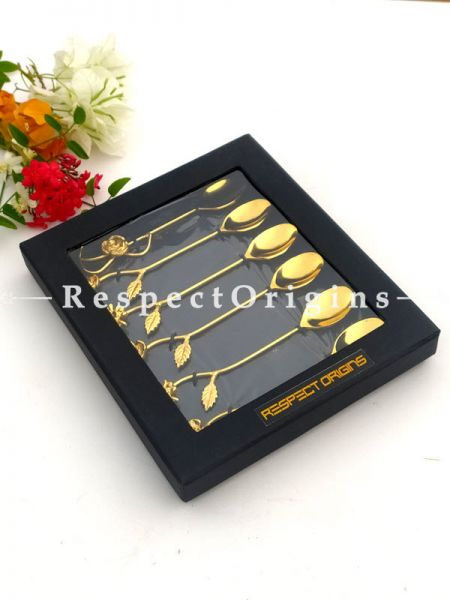 Adorable Desert or Tea Spoons Set Of 6 Designer Brass  Gold Finish Floral Handles Gift Set; 6.5 Inches; RespectOrigins.com