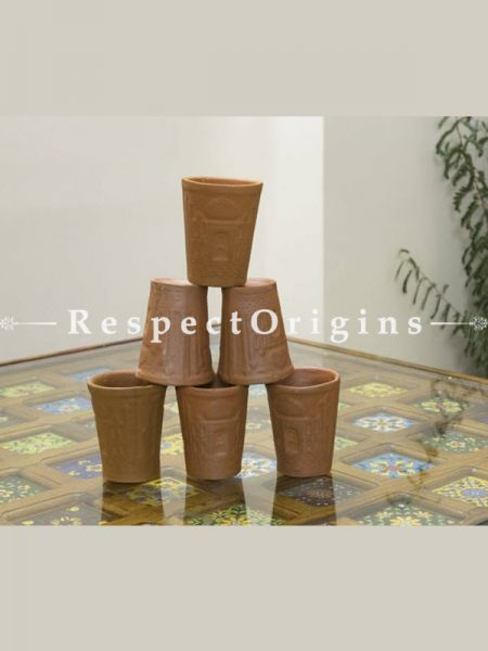Buy Set of 6 Terracotta Glasses, Ethnic Drink Ware At RespectOrigins.com