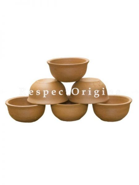 Buy Set of 6 Terracotta Bowls(150 ml), Earthenware At RespectOrigins.com
