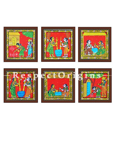 Buy Set of 6 Cheriyal Painting Square Wall Art Hand Painted on Canvas Tribal activities 8x8 inches at RespectOrigins.com
