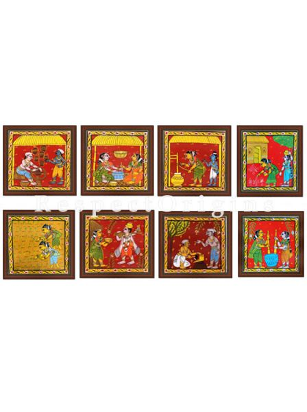 Buy Set of 8 Cheriyal Painting Square Wall Art Hand Painted on Canvas Tribal activities 8x8 inches at RespectOrigins.com