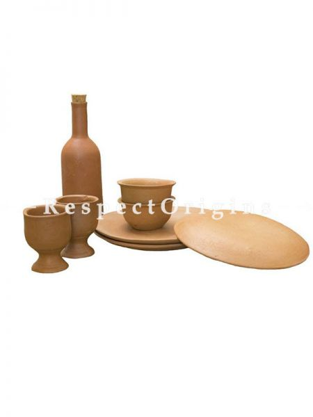 Buy Set of Earthen Bottle, With 2 Beer Glasses, 2 Small Bowls and 3 Plates, Terracotta At RespectOrigins.com