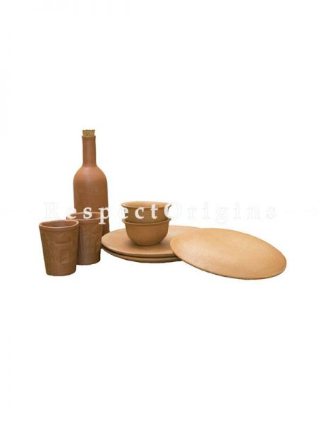 Buy Set of Earthen Bottle With 2 Taj Glasses, 2 Small Bowls and 3 Plates, Terracotta At RespectOrigins.com