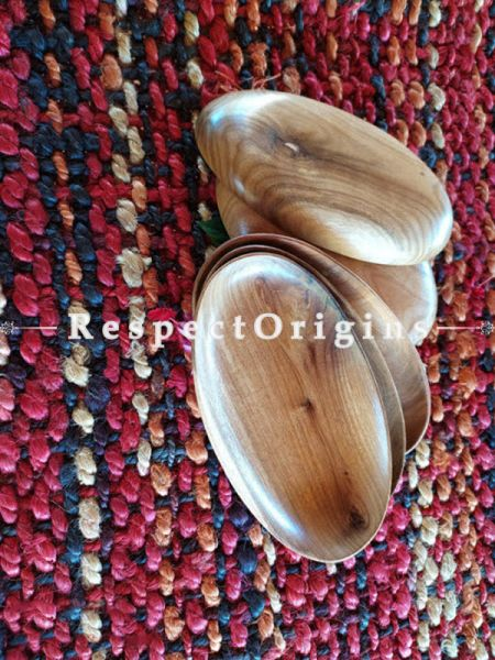 Set of 4 Handcrafted Oval Shape Serving Platter; Wooden Side Plates
