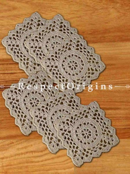 Buy Set of 6 Beige Square Coasters; Hand Knitted Crochet Work Cotton Tea Coasters; 4x4 in At RespectOrigins.com