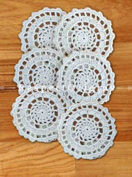 Buy Set of 6 White Round Coasters; Hand Knitted Crochet Work Cotton Tea Coasters; Dia-4 in At RespectOrigins.com