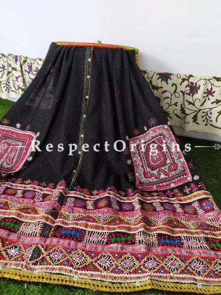 Vintage Exquisite Tribal Embroidery Border on Black Woolen Shawl;108 x37 Inches; RespectOrigins.com