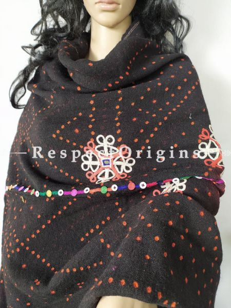 Unique Antique Intricate Tribal Embroidery Border Om Black Bandhej Woolen Shawl;108 x37 Inches; RespectOrigins.com