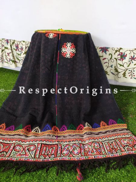Rare Vintage Shawl with Rabri Tribal Mirrorwork Embroidery in Brilliant Colors on Black Woolen Shawl;108 x37 Inches; RespectOrigins.com
