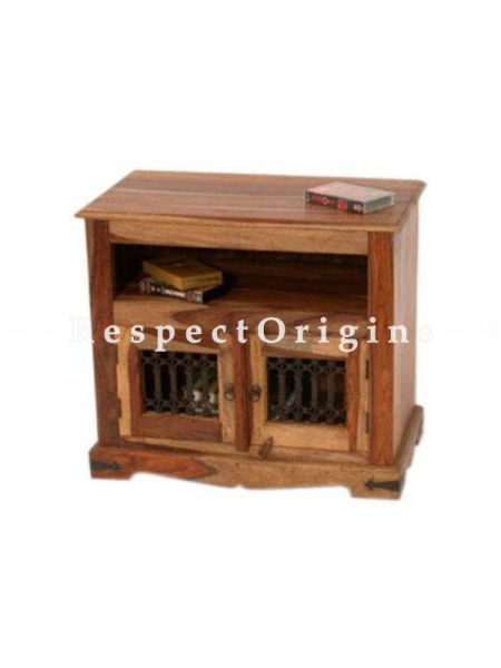 Buy Alex Handcrafted Solid Sheesham Wood TV console in honey oak Finish with Lattice work At RespectOrigins.com