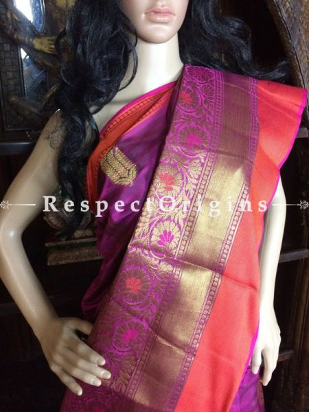Magenta-Orange Handwoven Banarasi Cotton Silk Saree; Zari Border & Butis; RespectOrigins.com
