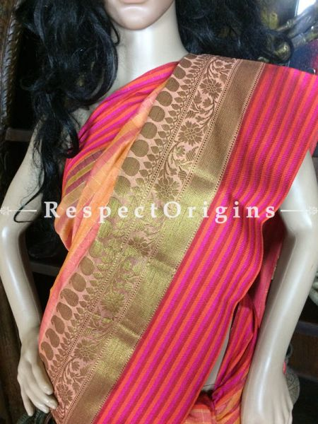 Pink Handwoven Banarasi Cotton Silk Saree; Zari Border & Butis; RespectOrigins.com