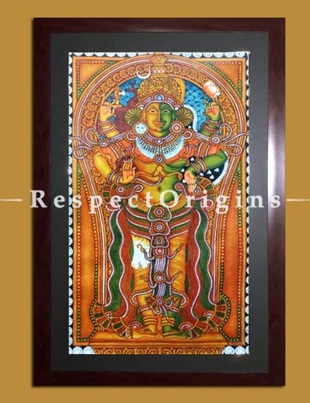 Ardhanarishvara; Kerala Mural Art; 18x29 inches; Chuvarchithram|RespectOrigins