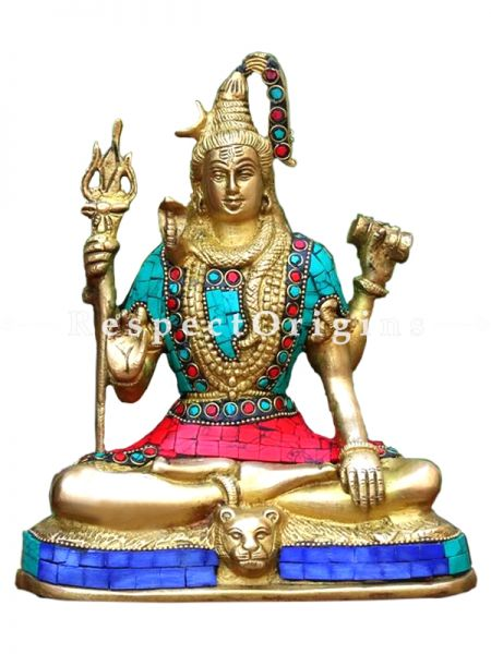 Buy God Brass Shiva Idol Lord Shiva Statue Stone Hand Crafted Showpiece 8.5 X 7 Inches at RespectOrigins.com