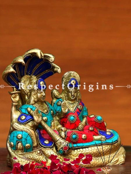 Buy Shri Lakshmi Narayan Idol On Anant Shayan Brass Idol/Lord Vishnu Idol On Shesh Naag Ido 6.3 X 7 at RespectOrigins.com