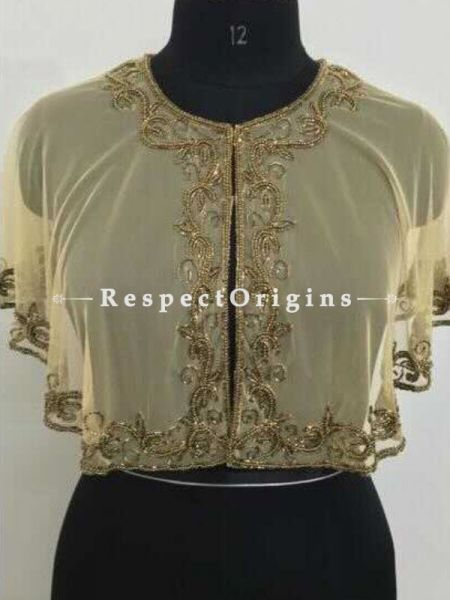 Classic Zardozi Gold Embroidery on Beige Georgette Cape Shrug Poncho Cocktail Gown Top; Freesize; RespectOrigins.com