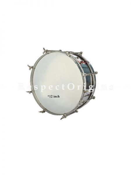 12 Inch Side Drum: Silver; Indian Musical Instrument; RespectOrigins.com