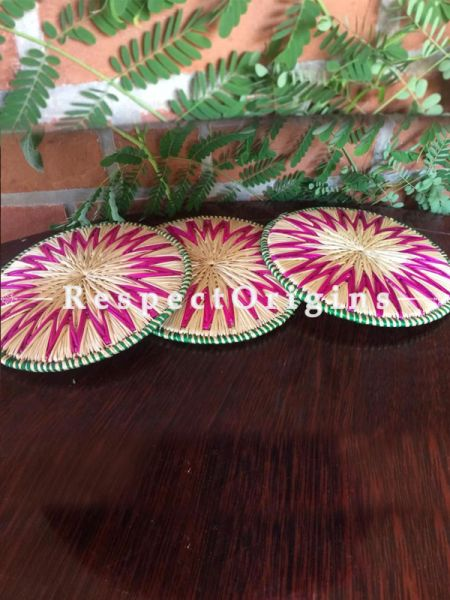 Handwoven Eco-friendly Natural Color With Pink Floral Pattern Sikki Grass With Green Border Place Mats - Set of 3; RespectOrigins.com