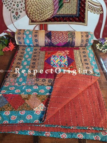 Natural Pure Cotton Ikat Patola Rich Weaves and Prints Patchwork Kantha Needlework Colourful Quilted Bedspread or Comforter; 108 X 90 Inches.