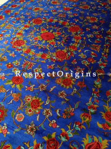 Blue Hand Knotted Floral Design Carpet; 6x4 Feet; RespectOrigins.com