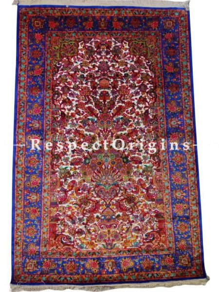 Stunning Hand Knotted Silk and Pure Zari Carpet; 6x9 Feet; 20x20 knots; RespectOrigins.com