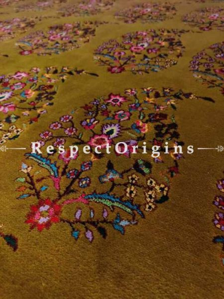 Luxurious Hand Knotted Green Floral Design Woollen Carpet; 6x9 Feet; RespectOrigins.com