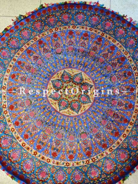 Fabulous Blue Round Woollen Hand Knotted Carpet; 6 Feet Diameter ; RespectOrigins.com