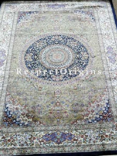 Buy Pure Silk Carpet Blue 3x5 Ft; Maqbool Kashan, Kashmiri At RespectOriigns.com