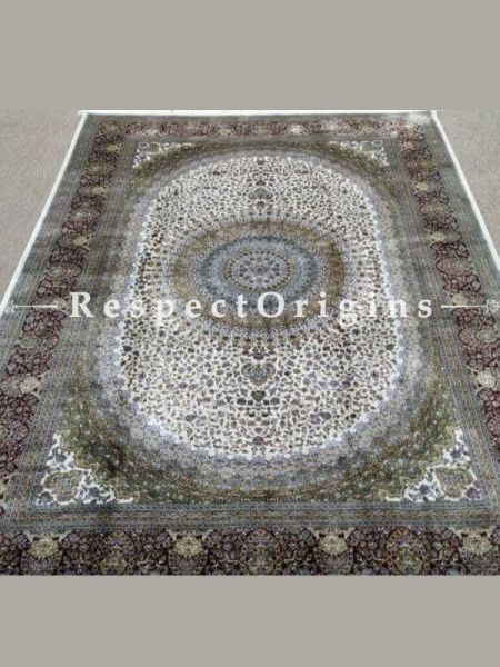 Buy Pure Silk Kashmiri Carpet White 5x7 Ft; Maqbool Kashan At RespectOriigns.com