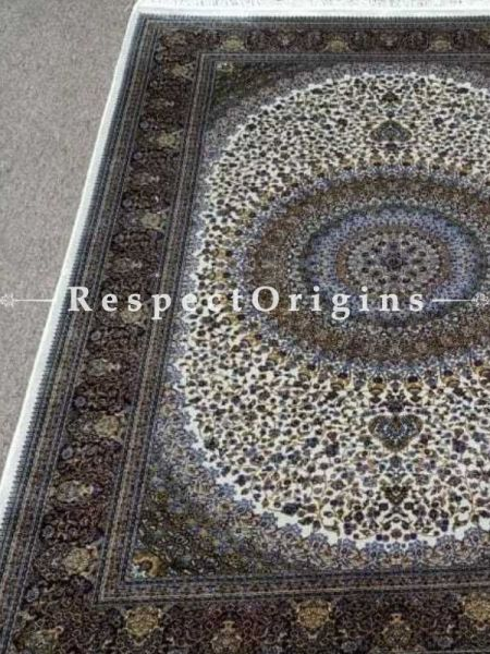 Buy Pure Silk Carpet White 3x5 Ft; Qum, Kashmiri At RespectOriigns.com