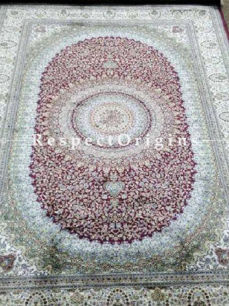 Buy Pure Silk Carpet Maroon 6x4; Maqbool Kashan, Kashmiri At RespectOriigns.com