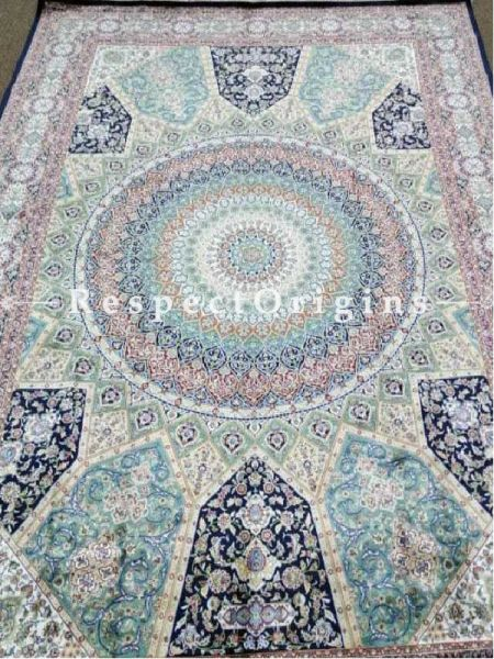 Buy Pure Silk Kashmiri Carpet Blue 5x7 Ft; Tabrez At RespectOriigns.com