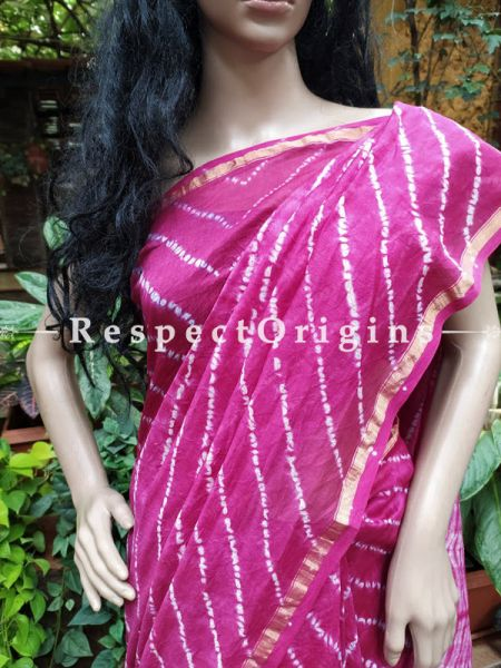 Sanganeri Hand- Block print Chanderi Cotton Silk Saree with Zari Border; Running Blouse